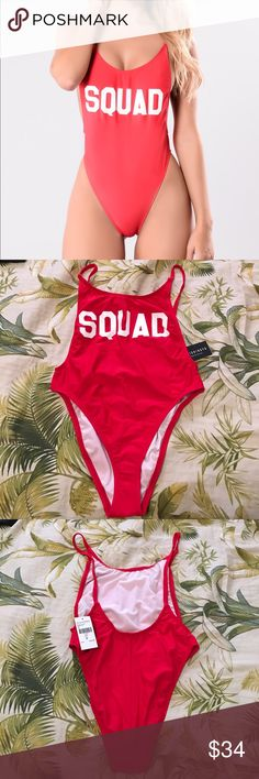"""Red """"Squad"""" swimsuit from Fashion Nova NWT. Just bought it a while ago. Perfect for beaching and showing of your curves! Trying to get rid of it because it's too tight for me. Size is small ❤️ Fashion Nova Swim Bikinis"""