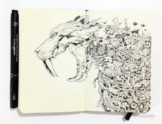 MOLESKINE DOODLES: Saber-tooth by kerbyrosanes.deviantart.com on @deviantART