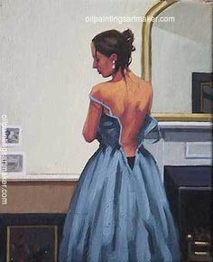 Jack Vettriano The Blue Gown (Study) painting outlet for sale, painting - $3,000.00 Authorized official website