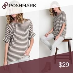 NWT striped top Short sleeved charcoal color tee Loose fitting sleeves with pocket on left chest High-low style Fits true to size 65% Cotton / 35% Polyester Hand wash Tops