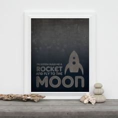 Build me a Rocket and Fly to the Moon Retro Space Rocket Art Print - Navy Blue Gray. $15.00, via Etsy.