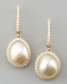 White South Sea Pearl & Diamond Framed Drop Earrings, Yellow Gold by Eli Jewels at Neiman Marcus.