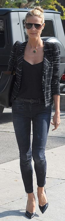 Heidi Klum out in LA: black stripe jacket and patent pumps, both by Isabel Marant, plus R13 Moto Jeans