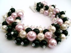 Pink and Black Pearl Bracelet Wedding Party by KIMMSMITH on Etsy, $19.00