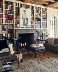 The living room of a home designed for friends almost 15 years ago. The mantel, detailed by architect James Carter in a polished Canadian… Home Library Design, House Design, Library Ideas, Library Fireplace, Interior Exterior, Interior Design, Home And Living, Living Room, Library Room