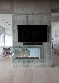 concrete wall and fireplace