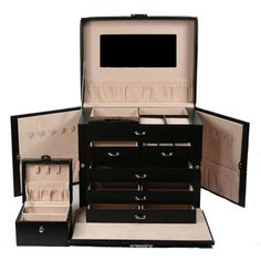 Armoire Black Leather Jewelry Box Chest Women's Mirror Organizer Wedding Gift  #Unbranded