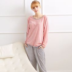New casual cute A74Spring pijama sleepwear women new cotton pajamas women's round neck home service casual Female pajamas suits #Affiliate