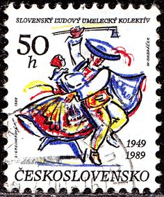 Czechoslovakia.  Slovak Folk Art Collective, 40th Anniv. Scott 2752 A991, Issued 1989 Aug. 29,  Perf. 12x11 1/2, 50h. /ldb. Fiji, Czech Republic, Postage Stamps, Folk Art, Disney Characters, Fictional Characters, Nostalgia, Dance, Collection