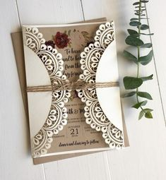 doily laser cut invitation, marsala wedding invitation, rustic wedding invitation #weddinginvitation
