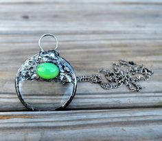 Green Glass Necklace Magnifying Glass Pendant Green Opal Jewelry Green Glass Soldered Pendant Necklace (#2339) (62.00 USD) by BayouGlassArts