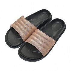 Women Sequin Slide Sandals With Arch Support Bling Flat Slippers Open Toe -  Gold - - Women s Shoes af6bf58fadb5