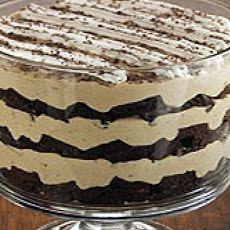 Tiramisu Brownie Trifle (Pampered Chef Recipe) -- fudge brownie mix, water, oil, eggs, cool whip, dark chocolate  bar, coffee liqueur, water, instant coffee granules cream cheese, vanilla instant pudding