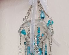Antique Crystal Wind Chime Peacock Crystal Wind by sheriscrystals