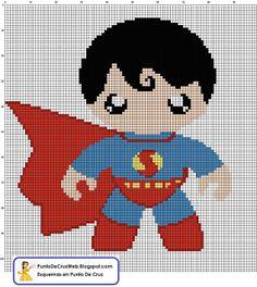 Bebe SuperMan, Super Heroe en Punto De Cruz www.puntodecruzweb.blogspot.com