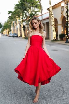 887845c082 Perfect Holiday Dress. Red strapless midi dress+nude ankle strap heeled  sandals+earrings