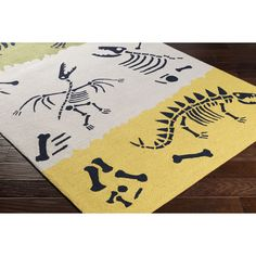 Peek-A-Boo Hand-Hooked Yellow/Neutral Area Rug