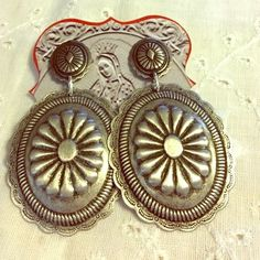 West Coast Cowgirl Silvertone Metal Concho Earrings Southwest Style New w Tag