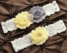 Wedding Garter Belt, Bridal Garter Set - Lace Garter, Keepsake Garter, Toss Garter, Shabby Gray Light Yellow Wedding Garter, You Pick Colors on Etsy, $22.00