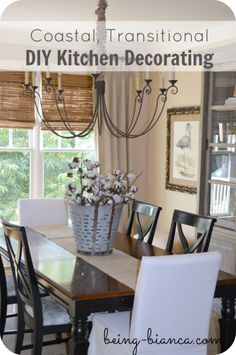 Kitchen Decorating - DIY design for a coastal, transitional space that is rich with neutral accents.