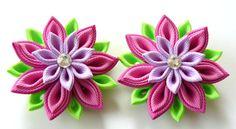 Kanzashi Fabric Flowers. Set of 2 hair clips. Pink by JuLVa