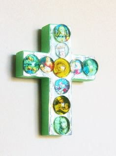 Folk Art Stamped Tin Wood Cross with Glass Gems Religious Images / Hispanic Kitsch Religious Art / Christmas Ornament Décor / Gift Under 30