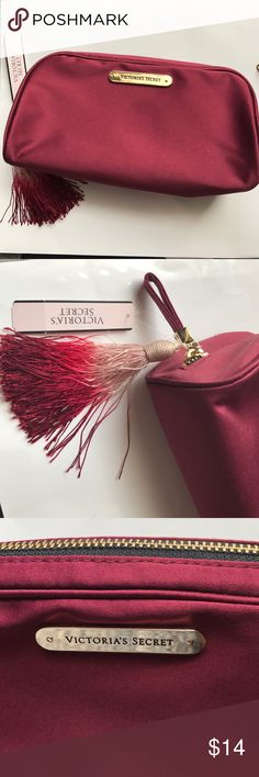 Victoria Secret burgundy make up bag 🌟 Beautiful burgundy satin finish Victoria Secret make up bag with fun tassel. Perfect to carry everyday make up.        💢 AUTHENTIC  💢 NO TRADES 💢 NO LOW BALLING Victoria's Secret Bags Cosmetic Bags & Cases