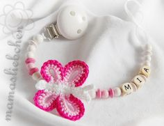 ♥♥♥    This is a special dummy holder for your baby. So cute with little, crocheted butterfly. :)