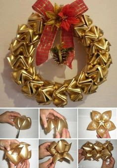 guirlanda from plastic bottles Wreath Crafts, Diy Wreath, Christmas Projects, Holiday Crafts, Christmas Wreaths, Christmas Crafts, Christmas Decorations, Christmas Ornament, Christmas Tree