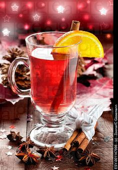 Glühwein - mulled wine sold in German Christmas markets. Warm (don't boil) 1 bottle red wine with 3 tbsp sugar, 2 cinnamon sticks, 1 tsp whole cloves, slices of 1 lemon and 1 orange. I put spices in cheesecloth bundle. Great in crockpot.