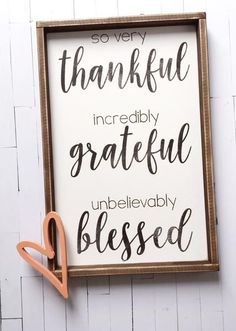 Thankful | Grateful | Blessed ~ Made from quality wood | latex paint | wood stain ~ All signs come ready to hang with wire backing ~ Measurements are approximat