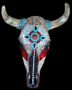 Decorated Mosaic Cow Skull Southwestern Native American Style