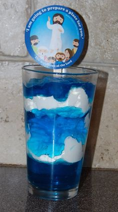 Feast of the Ascension.  Blue sky-jello, Clouds-whipped cream, picture of Jesus Ascending-www.happysaints.com