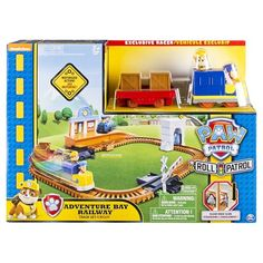 Paw Patrol Roll Patrol Adventure Bay Railway Set is a fun Paw Patrol Playset which includes a motorised Paw Patrol train set. Link to other Roll Patrol sets. Delivered direct to your door, ready to play. Train Car, Train Tracks, Train Rides, Paw Patrol Toys, Toy Cars For Kids, Toys R Us Canada, Thing 1, Christmas Gifts For Kids, Christmas Crafts