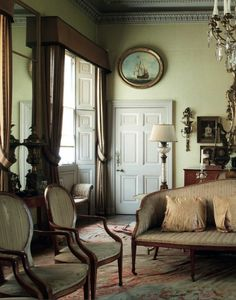 English home of architectSir Albert Richardson (1880-1964), leading English architect. Room at his Bedfordshire home untouched since 1964. ...
