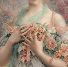 History Of Art Daily - Émile Vernon, Jeune fille en fleurs, detail,. Vernon, Renaissance Kunst, Rose Girl, Illustration Art, Illustrations, Classical Art, Art Plastique, Beautiful Paintings, Oeuvre D'art