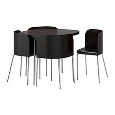 I freaking hate this thing, but it's a space saver. FUSION Table and 4 chairs - IKEA