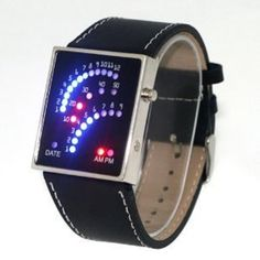 Multicolor LED Watch with Black Strap – Tells Time By Colourful Arcs
