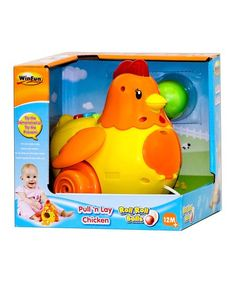 Little ones can pull along this fun chicken that makes fun sounds while it flaps its wings and lays eggs. The head lights up and plays silly sounds. Chicken Toys, Rubber Duck, Light Up, Little Ones, Toy Chest, Memory Foam, Baby Kids, Wings, Invitations