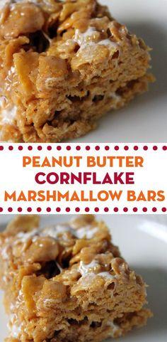Recipe for Peanut Butter Cornflake Marshmallow Bars.