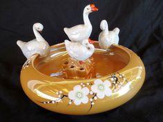 Lusterware Flower Arranging Bowl - 4 piece - Geese Swans - Japan - Floral Frog