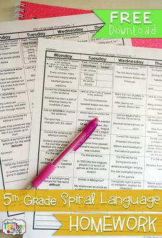 Spiral LANGUAGE Homework for 5th Grade! 2 Weeks FREE! with Answer Keys {Common Core}