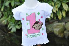 Personalized Monkey Girl Kids Birthday by AddieKakesKreations, $28.50