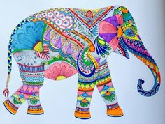 coloring ideas-elephant Indian Elephant Art, Elephant Eye, Elephant Tattoos, Embroidery Patterns Free, Quilt Patterns Free, Zentangle Patterns, Elephant Design, Mexican Art, Whimsical Art
