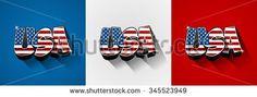 USA flag text on background vector illustration