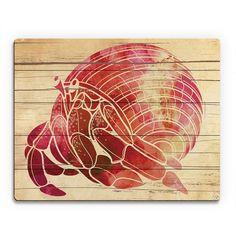 Horizon 'Fiery Watercolor Hermit Crab' Wood Wall Art