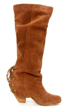 Naughty Monkey Fall Fever Tan Leather Laced-Back Knee High Boots