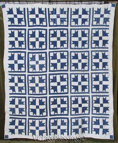 ANTIQUE c1880s Goose Tracks Indigo Blue & White QUILT Clean Beauty  Vintageblessings