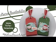 YouTube Christmas Tag, Christmas Ornaments, Holiday Cards, Holiday Decor, Santas Workshop, Santa And Reindeer, Punch Art, Stamping Up, Craft Fairs