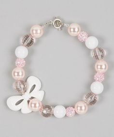 Take a look at this Pink & White Bow Bead Necklace on zulily today!